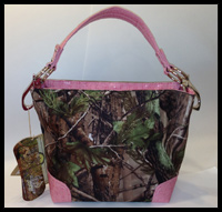 Camo Tote Handbag - Real Tree ARG/Pink Trim